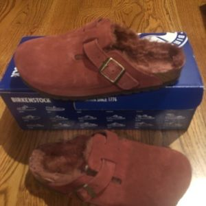 Birkenstock Boston Fur port suede 5 narrow new